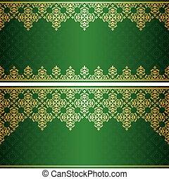 vendange, vecteur, vert, carte, or