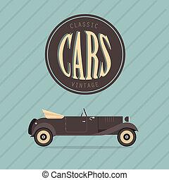 vendange, vecteur, voiture classique