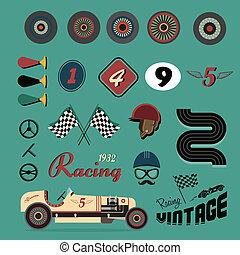 vendange, vecteur, voiture course, icônes