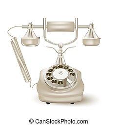 vendange, vecteur, white., illustration, téléphone