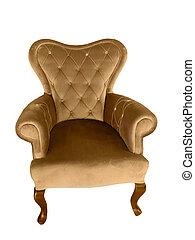 vendange, velours, fauteuil