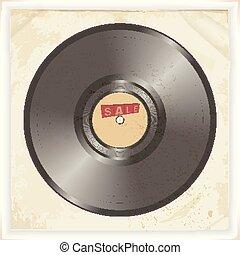 vendange, vente, étiquette, enregistrement, vinyle, fond