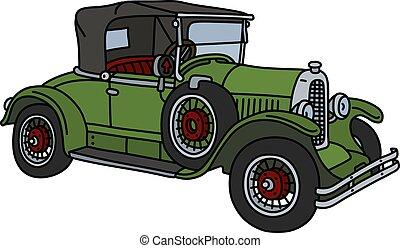 vendange, vert, cabriolet