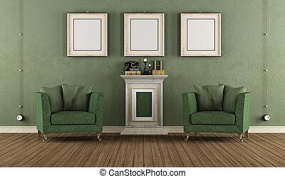 vendange, vert, salle