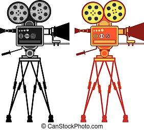 vendange, vidéo, projecteur, retro