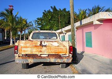vendange, vieilli, camion, a mûri, mexique