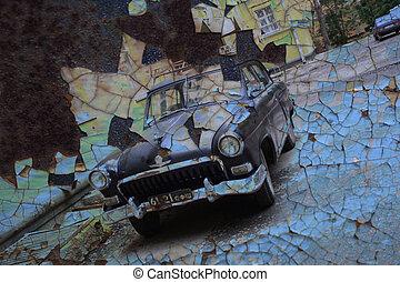vendange, vieilli, voiture, arrière-plan.
