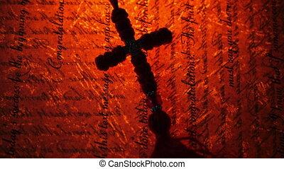 vendange, vieux, croix, manuscrit, contre