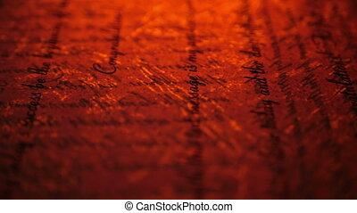 vendange, vieux, haut, manuscrit, fin