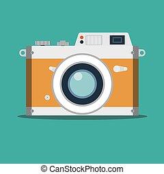 vendange, vieux, photo., pellicule, appareil-photo.