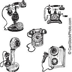 vendange, vieux,  téléphone