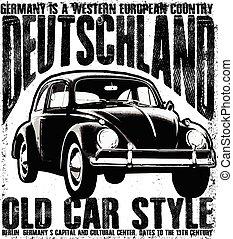 vendange, vieux, voiture