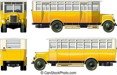 vendange, ville, 30-s, autobus, hi-detailed