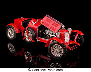 vendange, voiture rouge, sur, arrière-plan noir