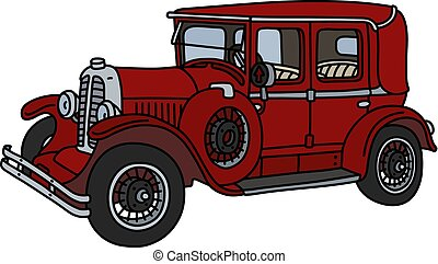 vendange, voiture rouge