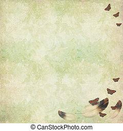 vendange, voler, plumes, papillons, fond,  floral