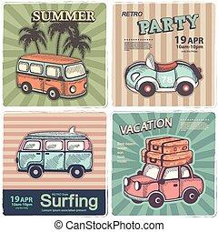 vendange, voyage, bannières, été
