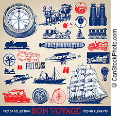 vendange, voyage, ensemble, (vector)