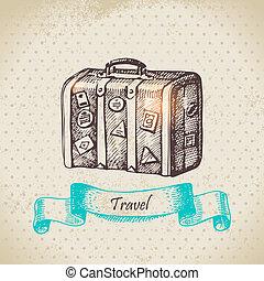vendange, voyage, illustration, main, fond, dessiné, suitcase.
