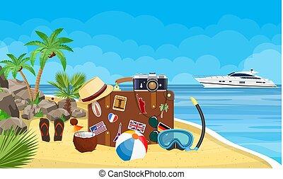 vendange, voyage, plage., vieux, valise