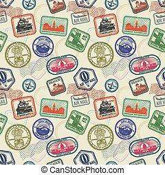vendange, voyage, seamless, timbres, vecteur, passeport, modèle