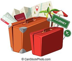 vendange, voyage, valise, élément