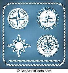 vendange, windrose, vieux, compas