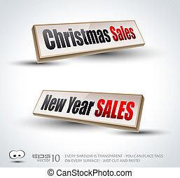vendas, ano, novo, painéis, natal, 3d