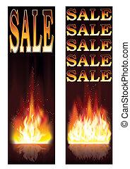 vendas, bandeiras, fogo, vetorial