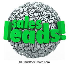 vendas, chumbos, palavras, ligado, 3d, esfera, de, sinais dólar, ou, símbolos, para, ilustre, convertendo, perspectivas, em, novo, fregueses, para, seu, negócio