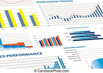 vendas, desempenho, e, negócio, gráficos