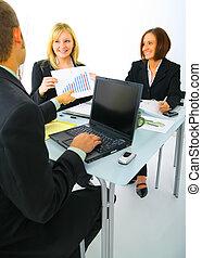 vendas, discutir, mapa, businessteam