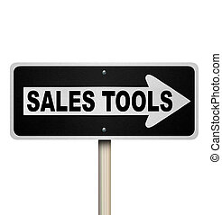 vendas, ferramentas, um modo, sinal estrada, vender, técnicas