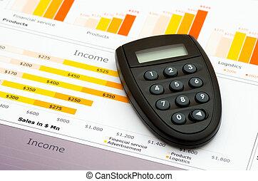 vendas informam, em, estatísticas, gráficos, e, código, gerador