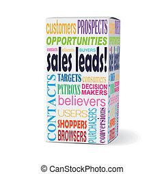 vendas, produto, caixa, palavras, chumbos