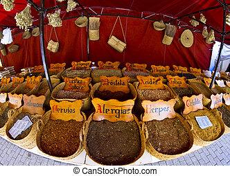 vendedor callejero, de, hierbas medicinales
