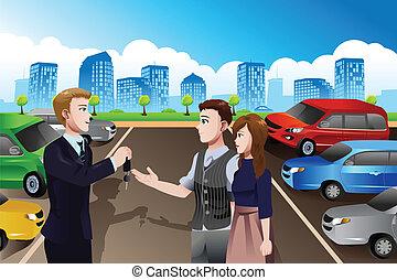 vendedor carro, com, fregueses, em, a, dealership