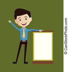 vendedor, ficar, tábua, em branco, empregado, -