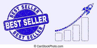 vendedor, melhor, mosaico, mapa, selo, azul, barzinhos, arranhado, foguete