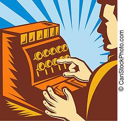 vendedor, o, cajero, con, caja registradora