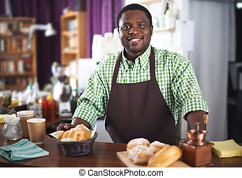 vendedor, pastel