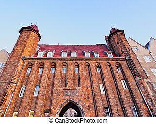 vendedor, portão, em, gdansk, polônia