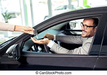 vendedor, venta, coches, en, venta coche