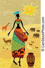 vendemmia, africani, disegno, tuo, fondo