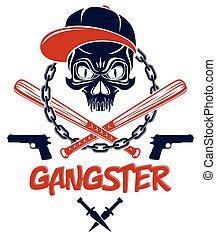 vendemmia, aggressivo, theme., pipistrelli, mafia, bandito, gangster, logotipo, vettore, cranio, elementi, armi, tatuaggio, ghetto, o, stile, altro, baseball, anarchia, criminale, disegno, emblema