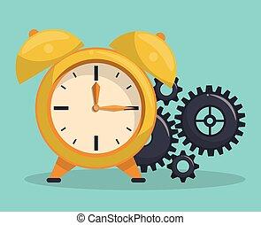 vendemmia, allarme, ingranaggi, orologio