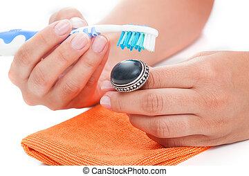vendemmia, anello, pulizia
