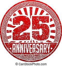 vendemmia, anniversario, 25, anni, rotondo, grunge, rotondo, stamp., retro, disegnato, vettore, illustrazione, in, rosso, tones.