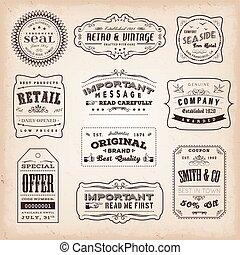vendemmia, antiquato, etichette, segni