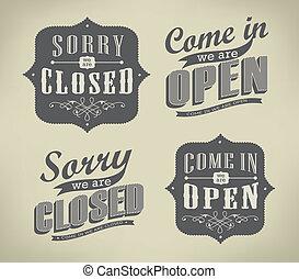 vendemmia, aperto, retro, segni closed